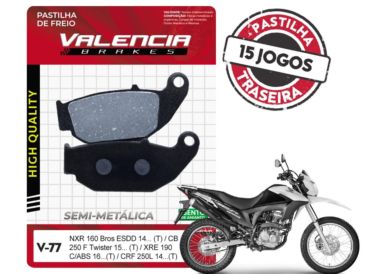 KIT 15 JOGOS DE PASTILHAS DE FREIO TRASEIRA HONDA NXR BROS 160 ESDD 2014... VL BRAKES(V77-FJ2670)