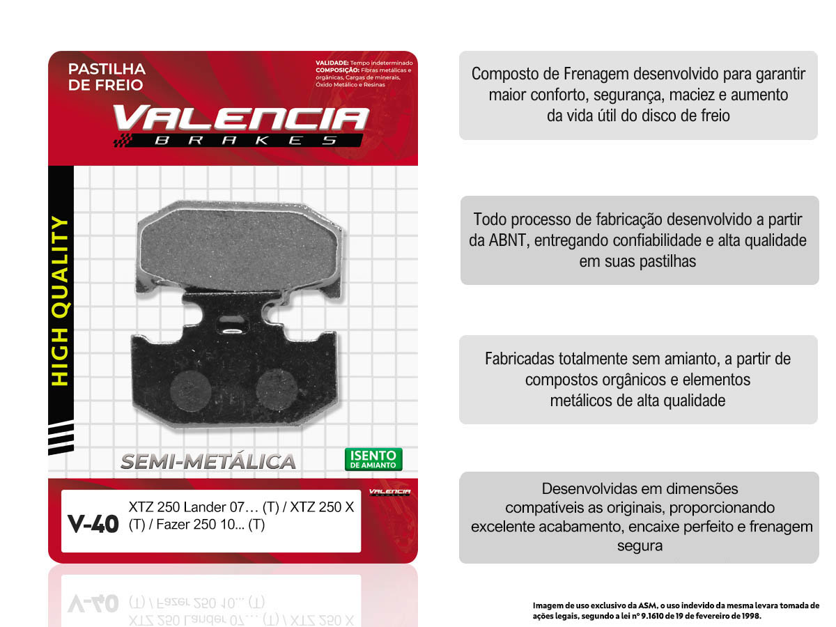 KIT 15 JOGOS DE PASTILHAS DE FREIO TRASEIRA YAMAHA XTZ 250 LANDER 2007... VL BRAKES(V40-FJ2190)