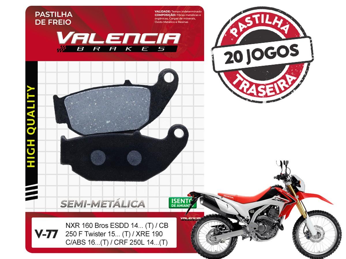 KIT 20 JOGOS DE PASTILHAS DE FREIO TRASEIRA HONDA CRF 250 L 2014... VL BRAKES(V77-FJ2670)