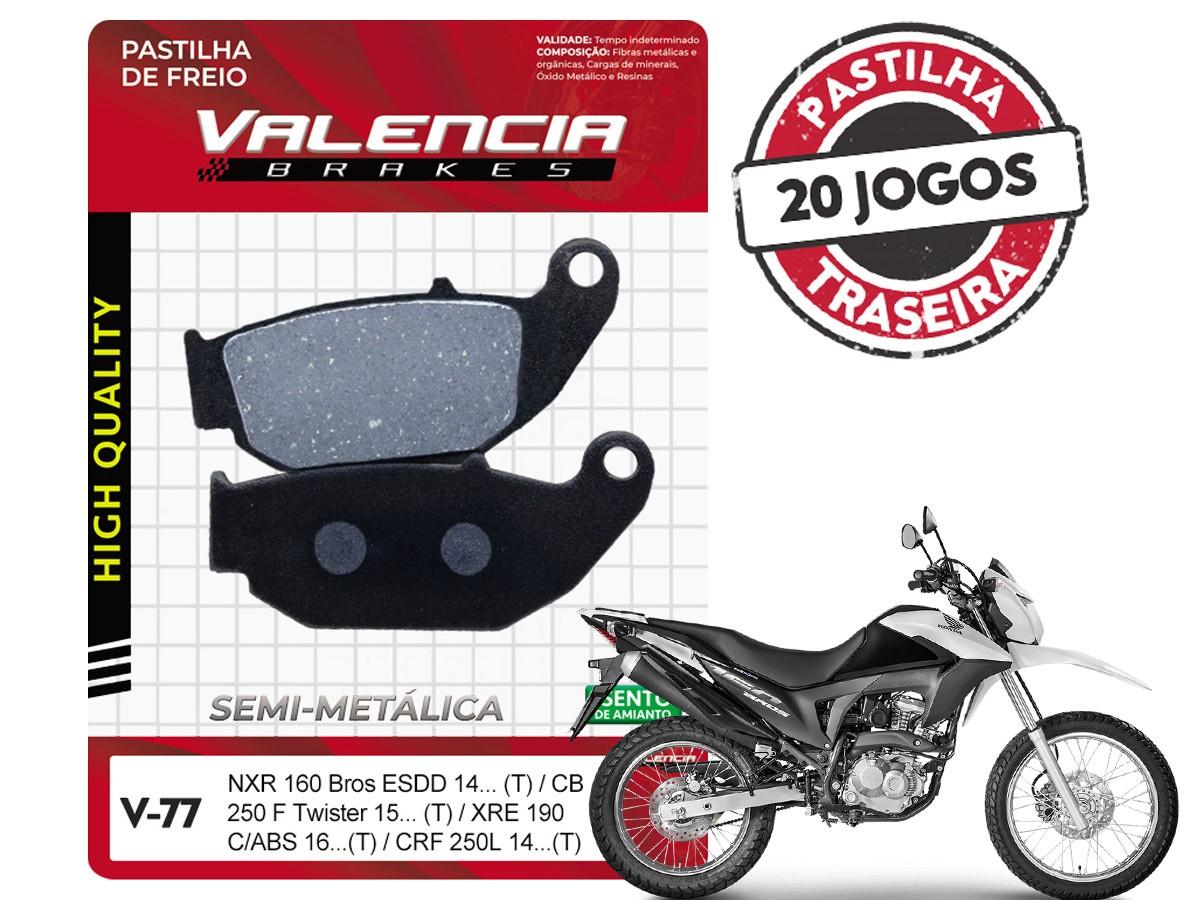 KIT 20 JOGOS DE PASTILHAS DE FREIO TRASEIRA HONDA NXR BROS 160 ESDD 2014... VL BRAKES(V77-FJ2670)