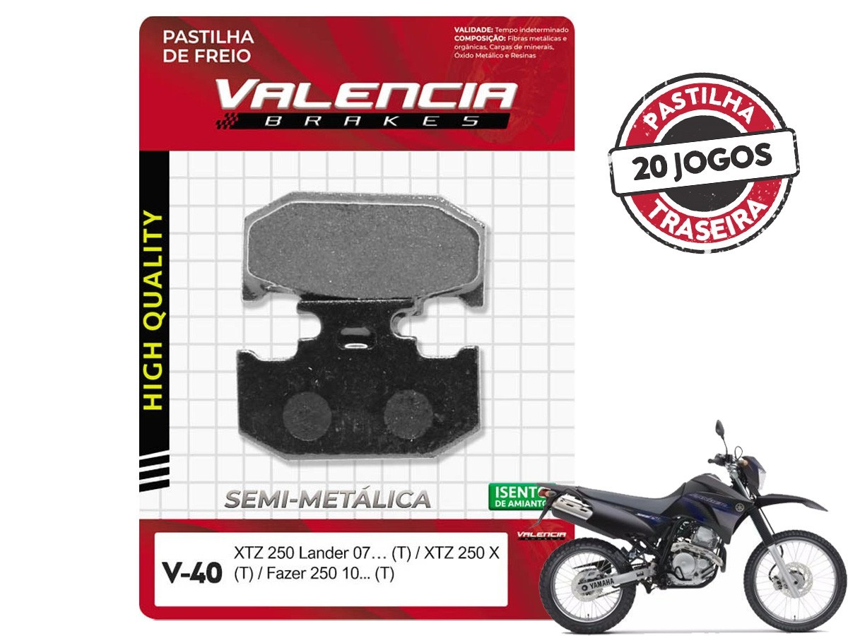 KIT 20 JOGOS DE PASTILHAS DE FREIO TRASEIRA YAMAHA XTZ 250 LANDER 2007... VL BRAKES(V40-FJ2190)