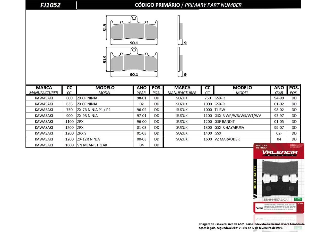KIT 2 JOGOS DE PASTILHA DE FREIO DIANTEIRA SUZUKI GSF BANDIT 1200 2001 A 2005 (FREIO DUPLO) VALENCIA (V56-FJ1052)