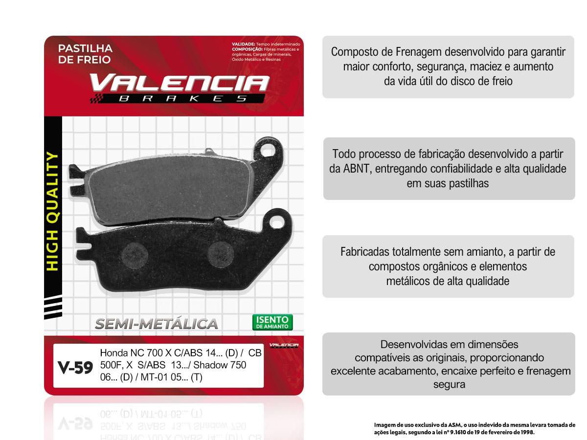 KIT 2 JOGOS DE PASTILHA DE FREIO DIANTEIRO HONDA SHADOW 750 2006/... VALENCIA (V59-FJ2110)