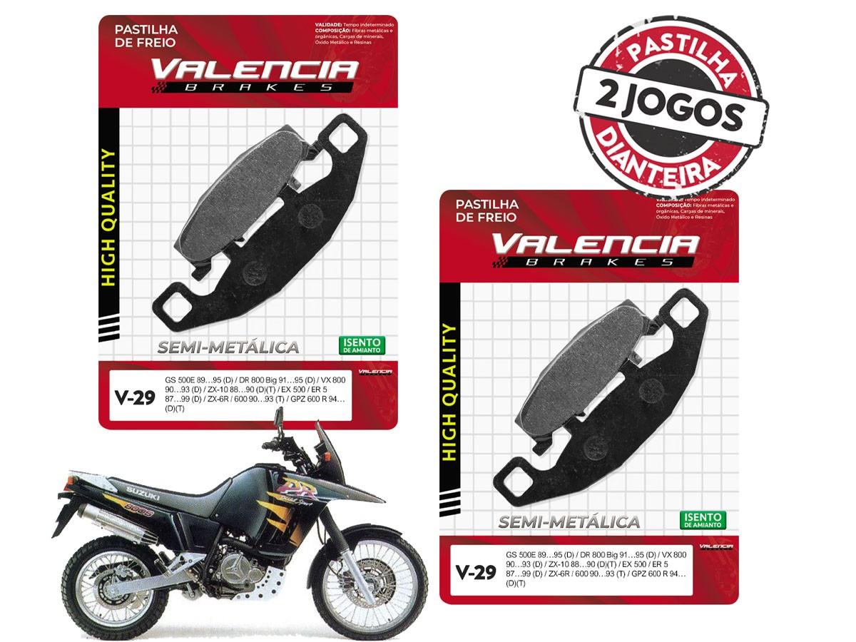 KIT 2 JOGOS DE PASTILHA DE FREIO DIANTEIRO SUZUKI DR 800S/BIG 1991 A 1995 VALENCIA (V29-FJ0980)