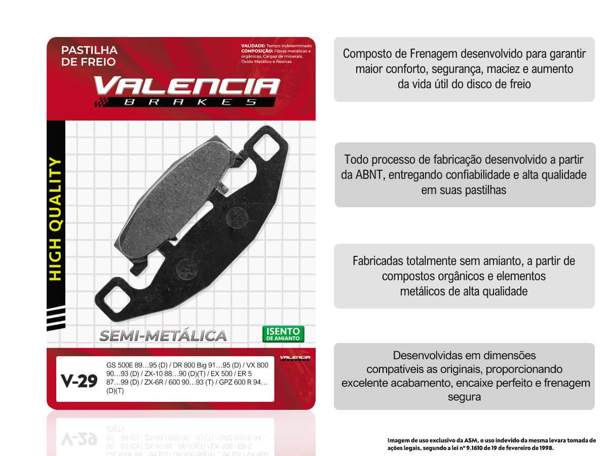 KIT 2 JOGOS DE PASTILHAS DE FREIO DIANTEIRO SUZUKI GS 500E 1989 A 1995 VALENCIA (V29-FJ0980)