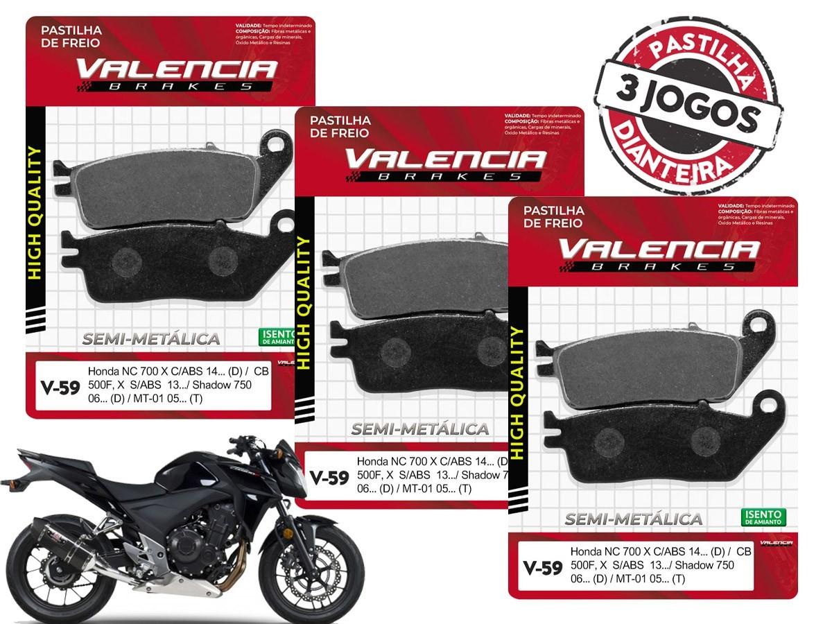 KIT 3 JOGOS DE PASTILHA DE FREIO DIANTEIRO HONDA CB 500 F /CB 500X  S/ABS  2013/... VALENCIA (V59-FJ2110)