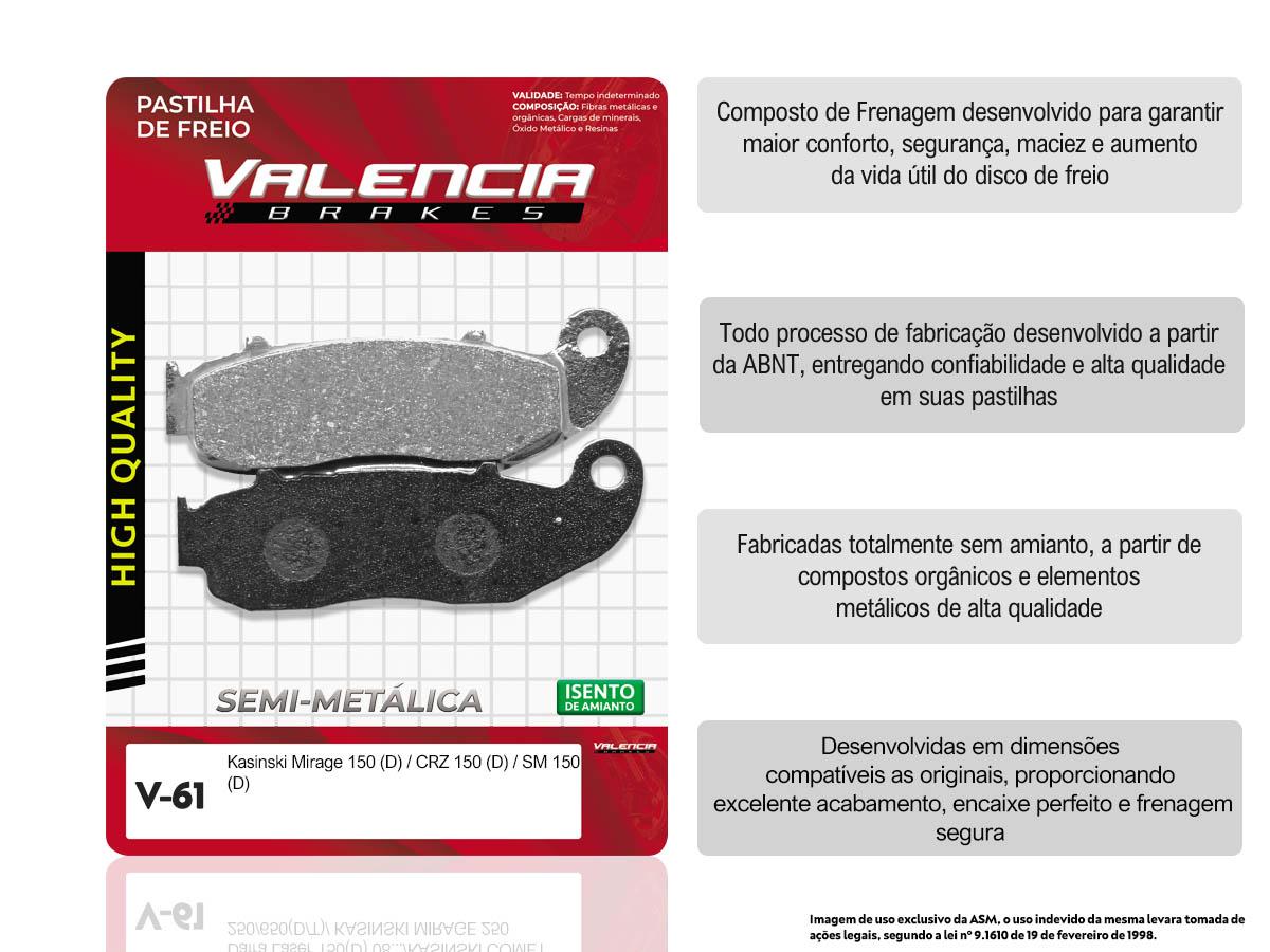 KIT 3 JOGOS DE PASTILHA DE FREIO DIANTEIRO KASINSKI MIRAGE 150/CRZ 150/CRZ 150SM VALENCIA (V61-FJ2420)
