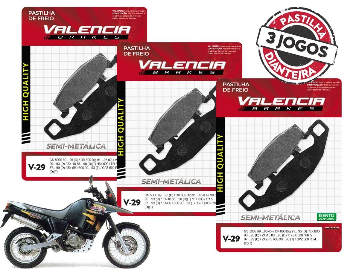 KIT 3 JOGOS DE PASTILHA DE FREIO DIANTEIRO SUZUKI DR 800S/BIG 1991 A 1995 VALENCIA (V29-FJ0980)
