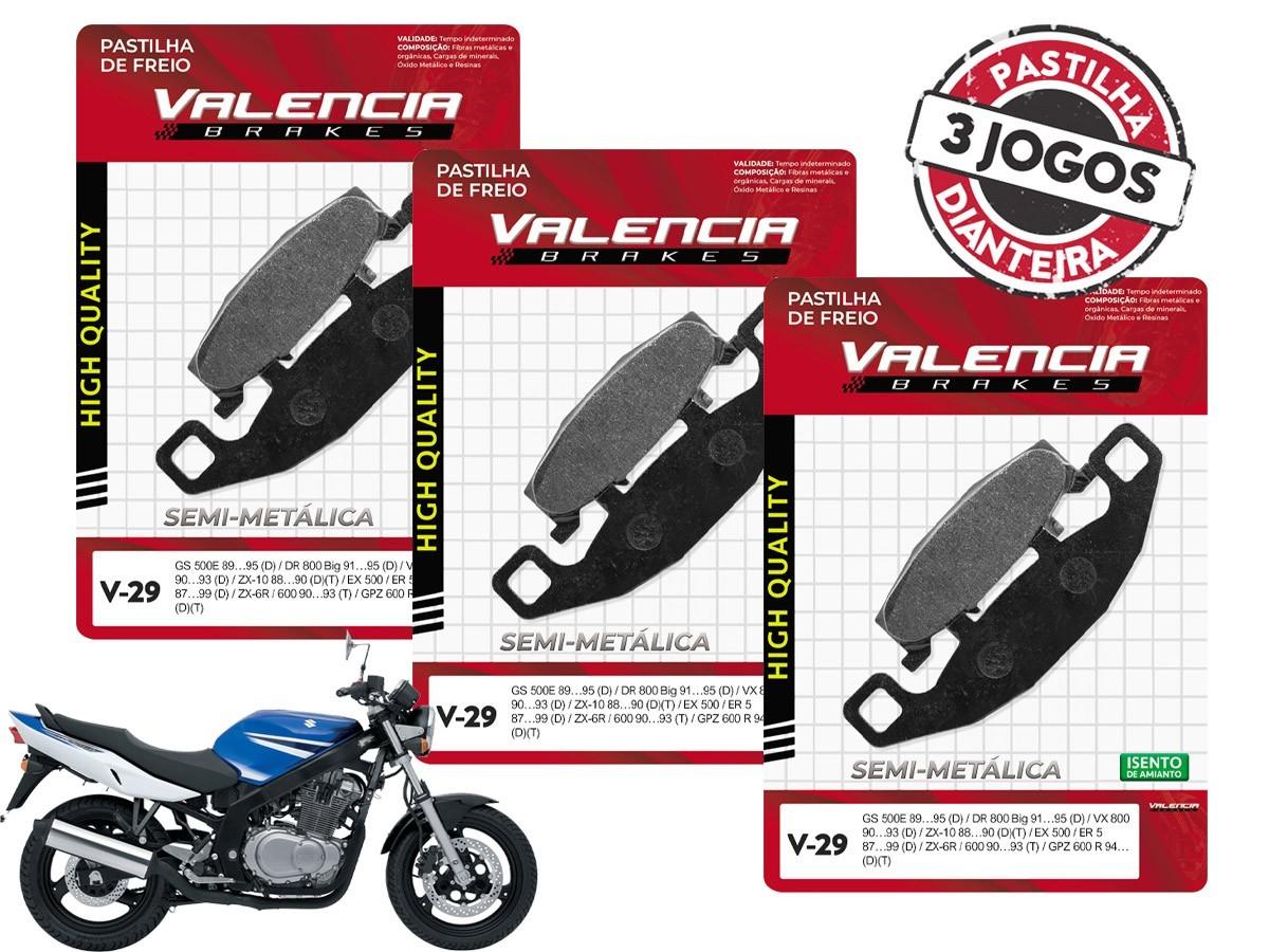 KIT 3 JOGOS DE PASTILHAS DE FREIO DIANTEIRO SUZUKI GS 500E 1989 A 1995 VALENCIA (V29-FJ0980)