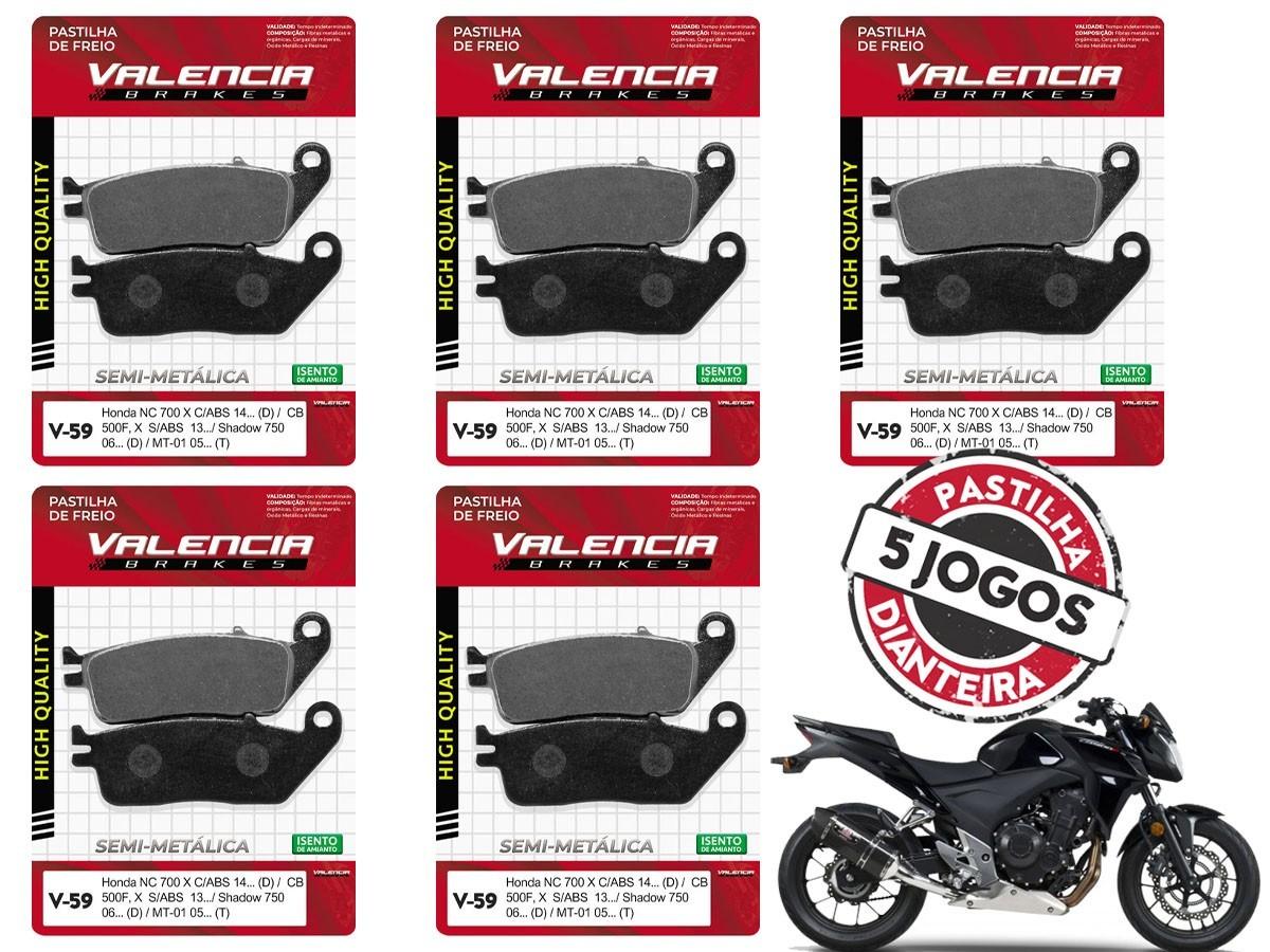 KIT 5 JOGOS DE PASTILHA DE FREIO DIANTEIRO HONDA CB 500 F /CB 500X  S/ABS  2013/... VALENCIA (V59-FJ2110)