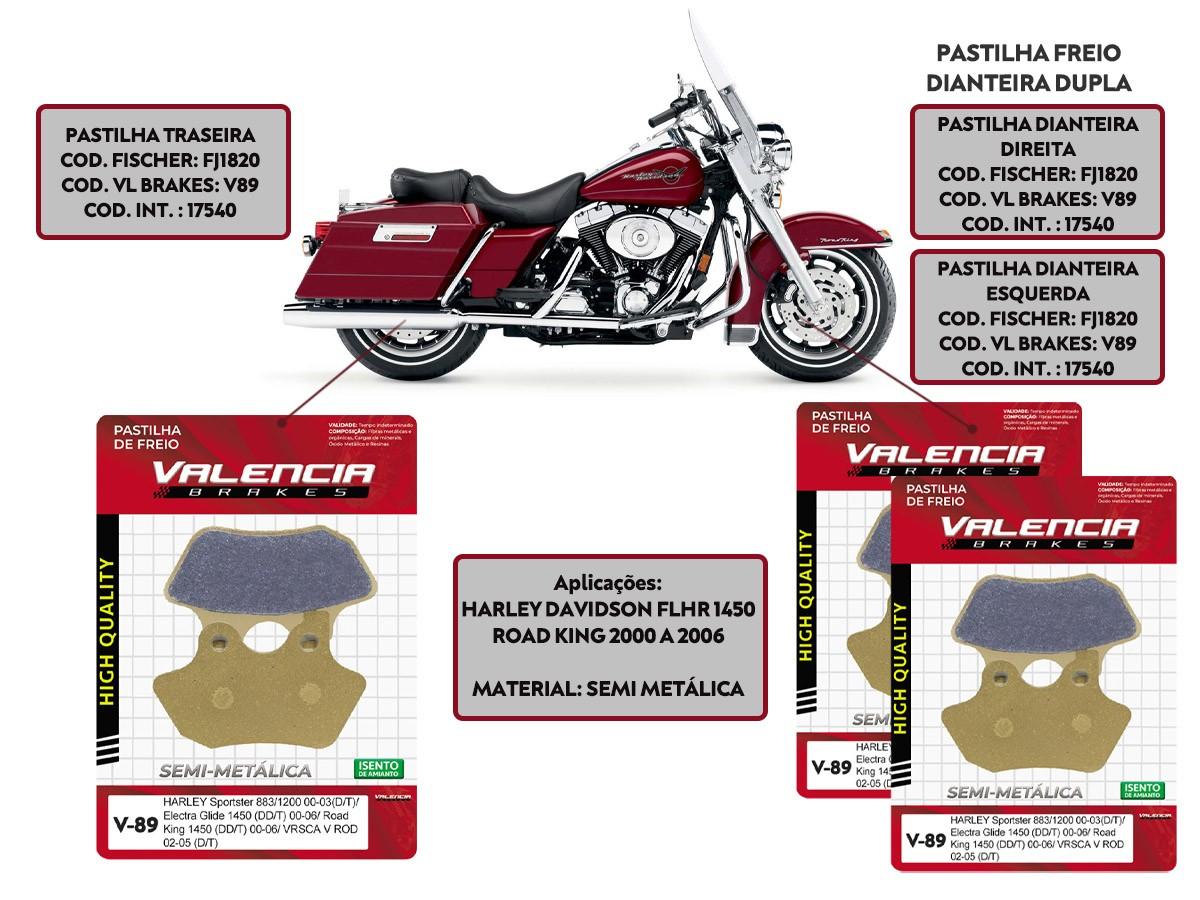 KIT JOGO PASTILHA FREIO HARLEY DAVIDSON FLHR 1450 ROAD KING 2000 A 2006 - VL BRAKES