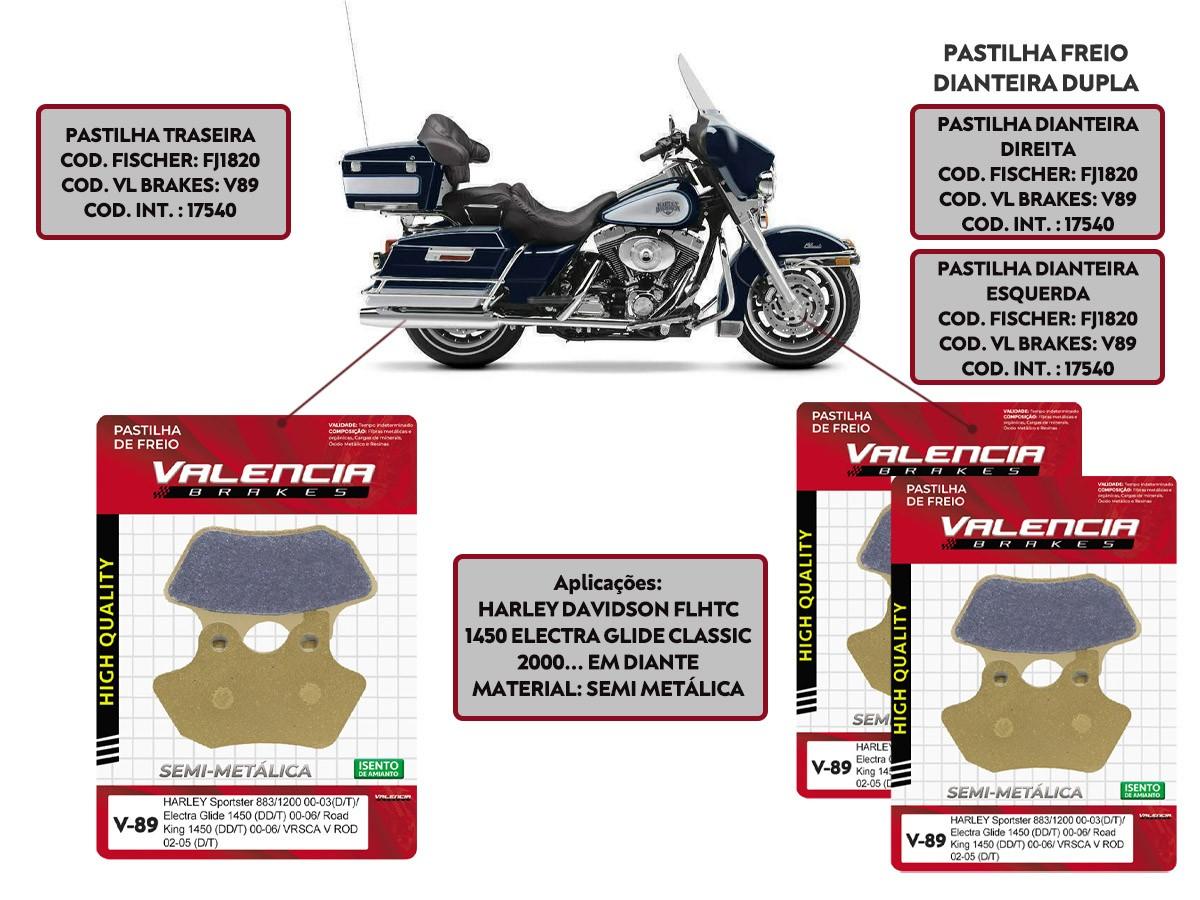KIT JOGO PASTILHA FREIO HARLEY DAVIDSON FLHTC 1450 ELECTRA GLIDE CLASSIC 2000... - VL BRAKES