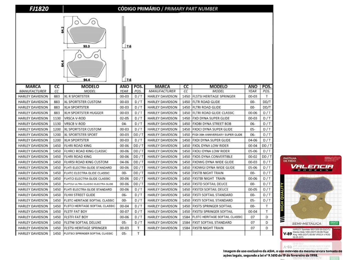 KIT JOGO PASTILHA FREIO HARLEY DAVIDSON FLHXI 1450 STREET GLIDE 2006... -VL BRAKES