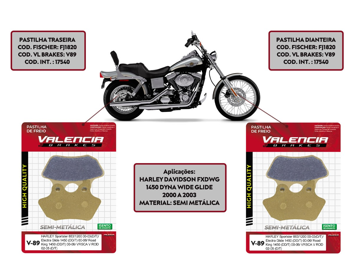 Kit Jogo Pastilha Freio Harley Davidson Fxdwg 1450 Dyna Wide Glide 2000 A 2003 Vl Brakes