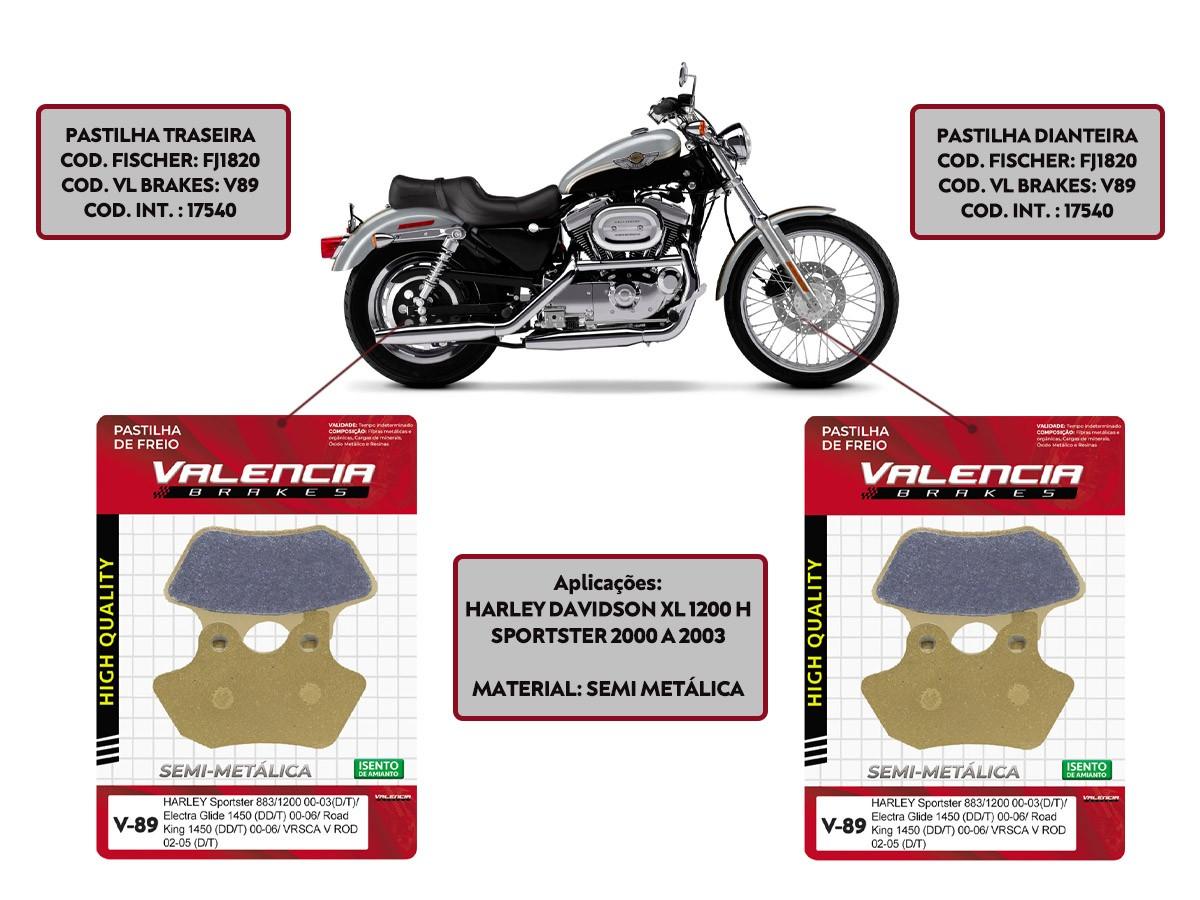 KIT JOGO PASTILHA FREIO HARLEY DAVIDSON XL 1200 H SPORTSTER 2000 A 2003-VL BRAKES