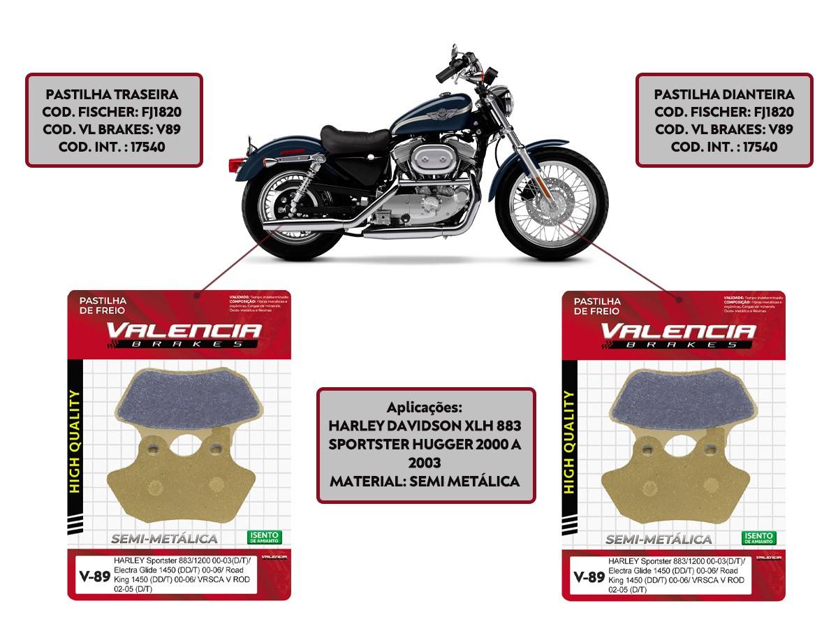 Kit Jogo Pastilha Freio Harley Davidson Xlh 883 Sportster Hugger 2000 A 2003 Vl Brakes Sommer