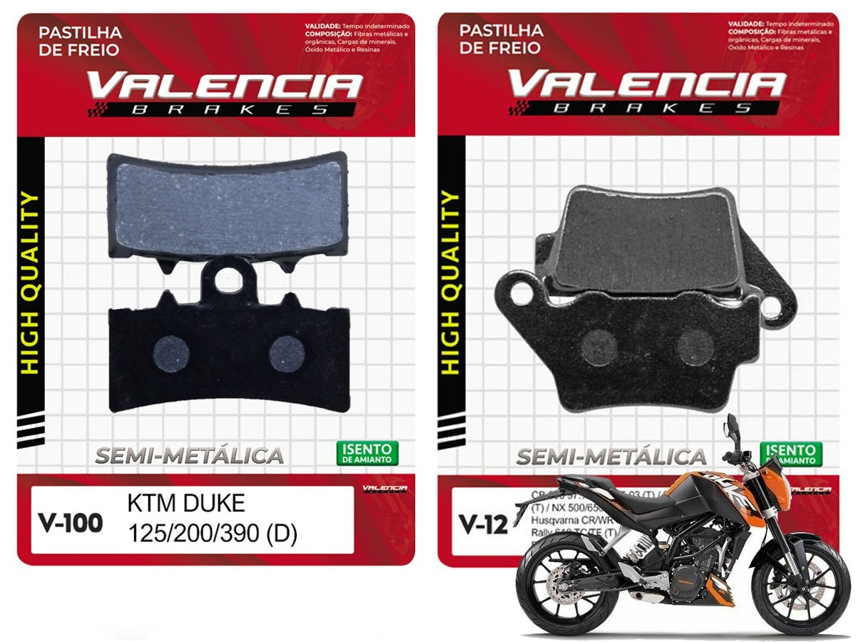 KIT JOGO PASTILHA FREIO KTM DUKE 200 2012... EM DIANTE-VL BRAKES
