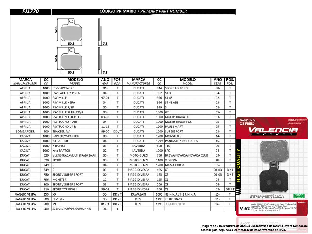KIT JOGO PASTILHA FREIO PIAGGIO VESPA X8 125 2001 A 2003 - VL BRAKES