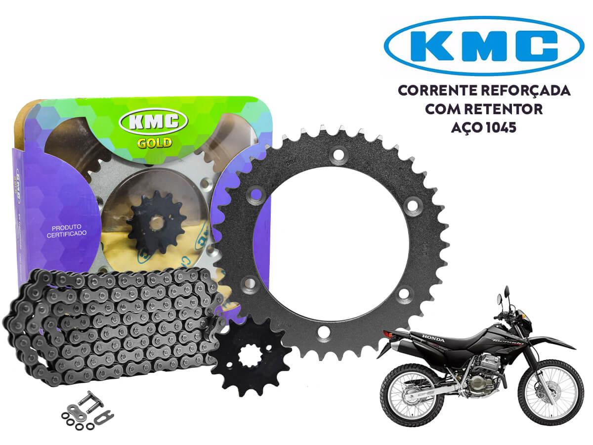 KIT RELAÇÃO HONDA XR 250 TORNADO (TODOS OS ANOS) COM RETENTOR KMC GOLD