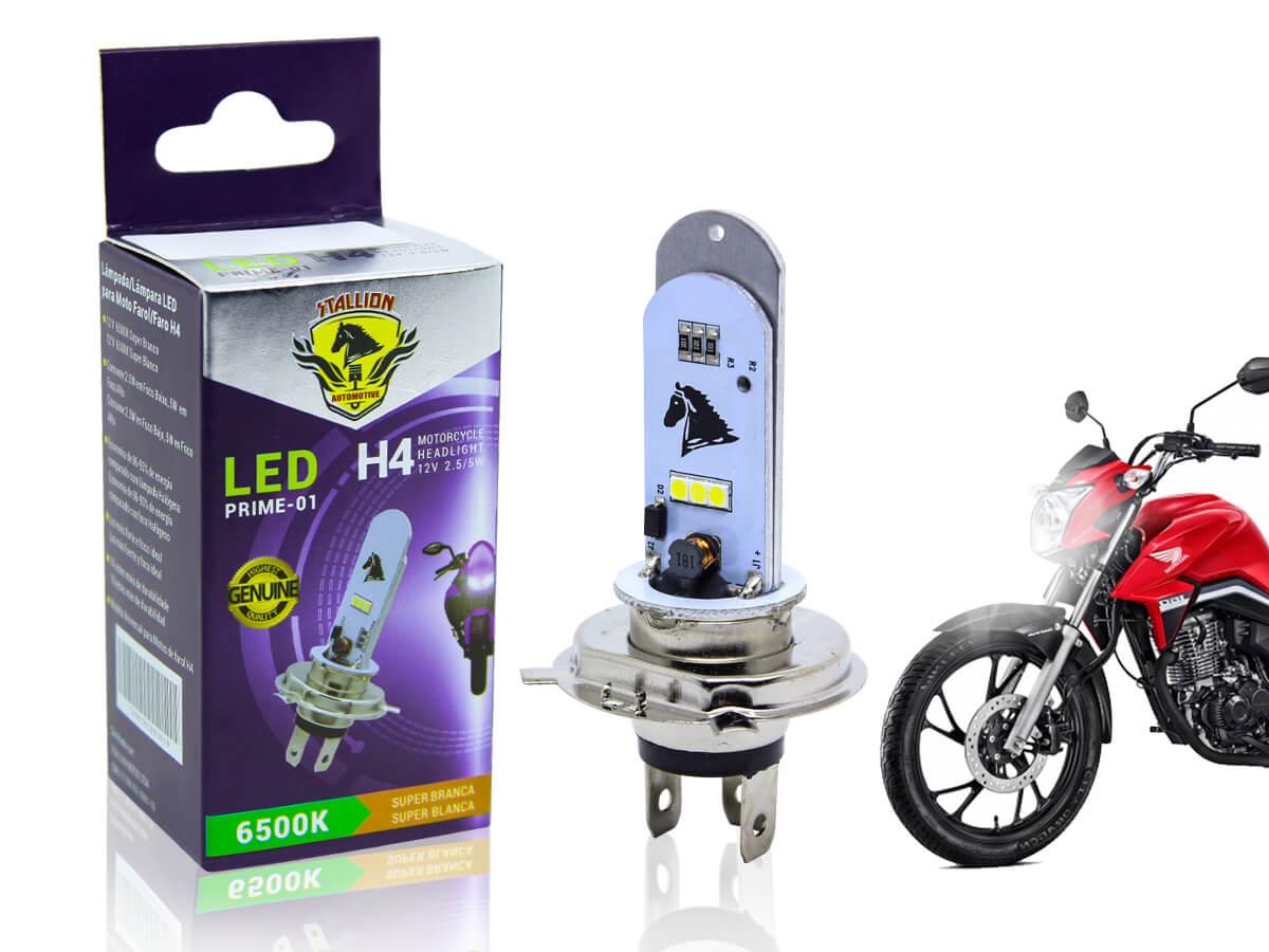 LÂMPADA FAROL LED H4 CB 400/ CB 450/ CBR 450 (EFEITO XENON) STALLION