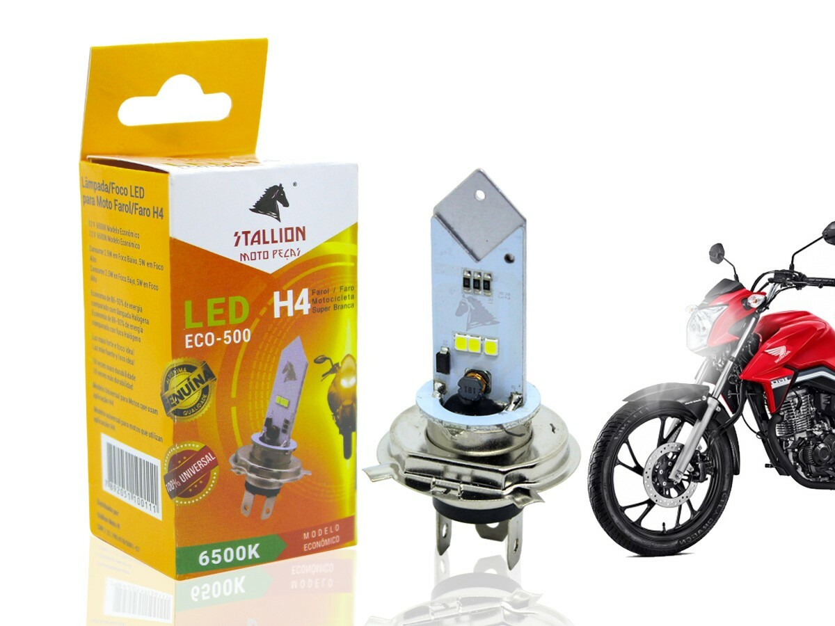 LÂMPADA FAROL LED H4 CG/ TITAN/ FAN 150 (TODOS OS ANOS-EFEITO XENON) STALLION
