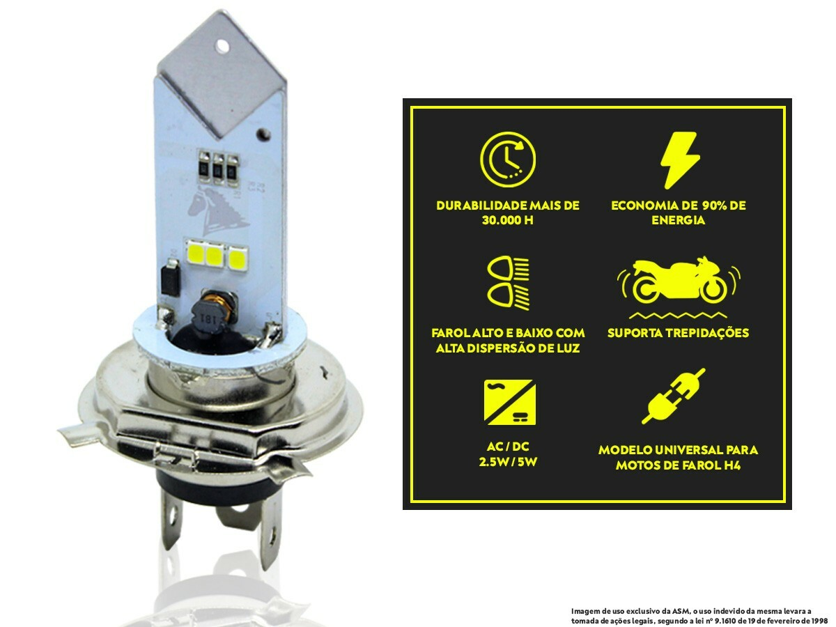 LÂMPADA FAROL LED H4 DAFRA SMART 125 (EFEITO XENON) STALLION