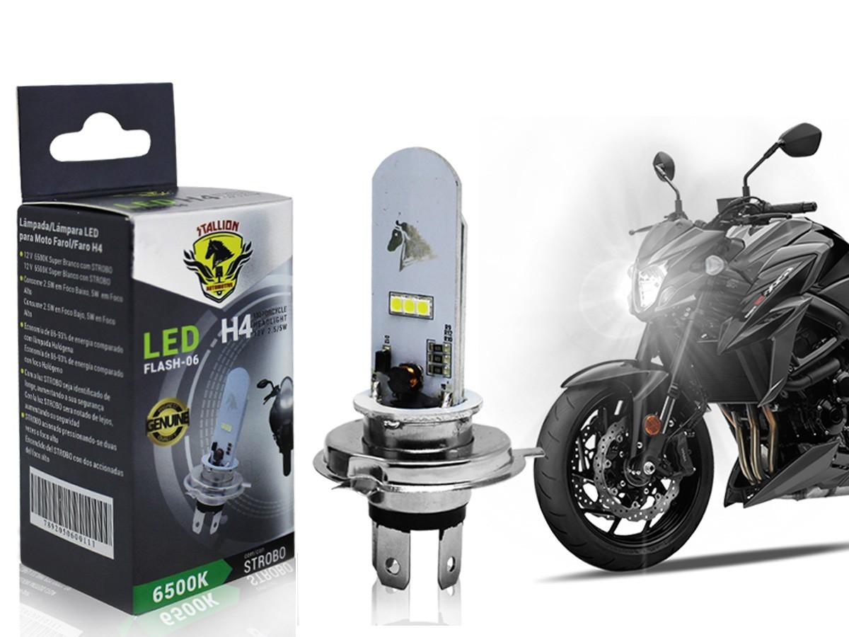 LÂMPADA FAROL LED H4 NXR BROS 160/ XRE 190 (EFEITO XENON STROBO) STALLION