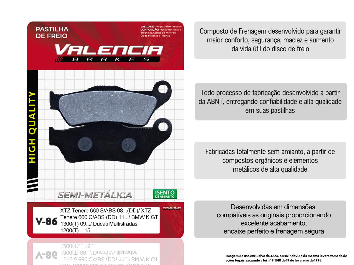 PASTILHA DE FREIO DIANTEIRA DUCATI MULTISTRADA 620CC 2005/... (FREIO DUPLO) VALENCIA (V86)