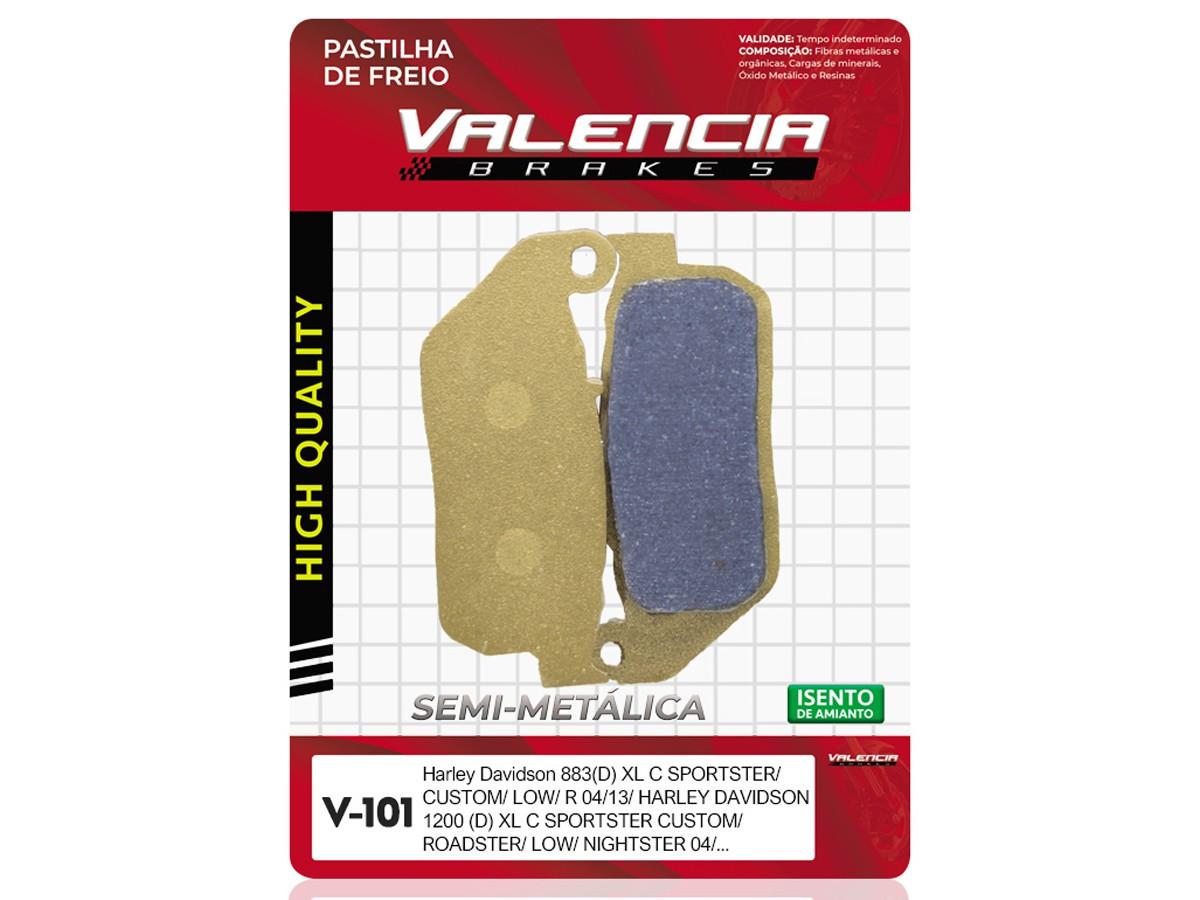 PASTILHA DE FREIO DIANTEIRA HARLEY DAVIDSON XL R SPORTSTER ROADSTER 1200 2004/... (FREIO DUPLO) VALENCIA (V101-FJ2230)