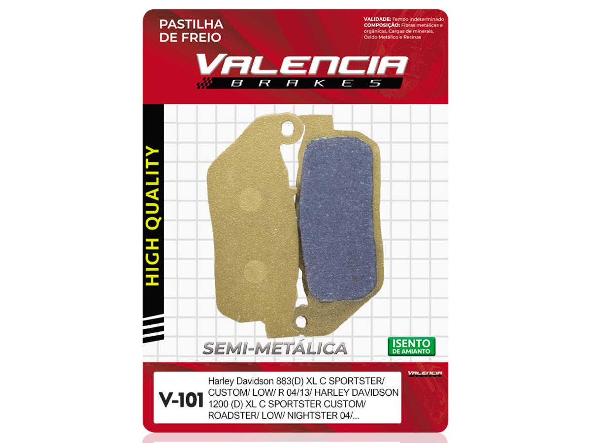 PASTILHA DE FREIO DIANTEIRA HARLEY DAVIDSON XL SPORTSTER R 883 2005 A 2013 (FREIO DUPLO) VALENCIA (V101)