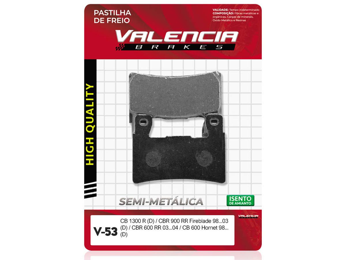 PASTILHA DE FREIO DIANTEIRA HONDA CBR 600 F4 / F4 SPORT 1999/...(FREIO DUPLO) VALENCIA (V53)