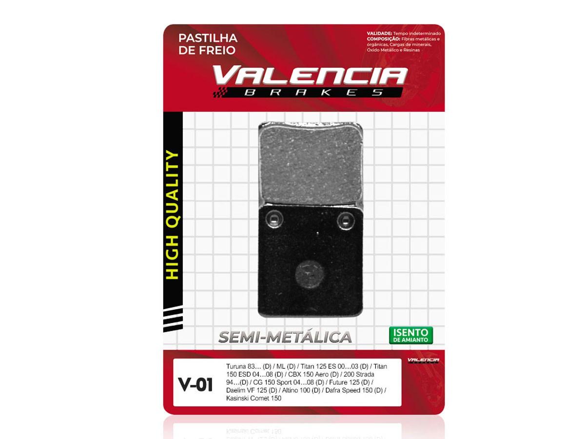 PASTILHA DE FREIO DIANTEIRA HONDA CG/ TITAN 125 ES 2000 A 2008 VALENCIA (V01)