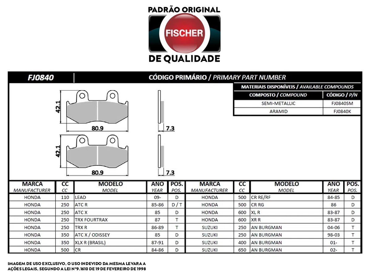 PASTILHA DE FREIO DIANTEIRA HONDA LEAD 110CC FISCHER(FJ0840)