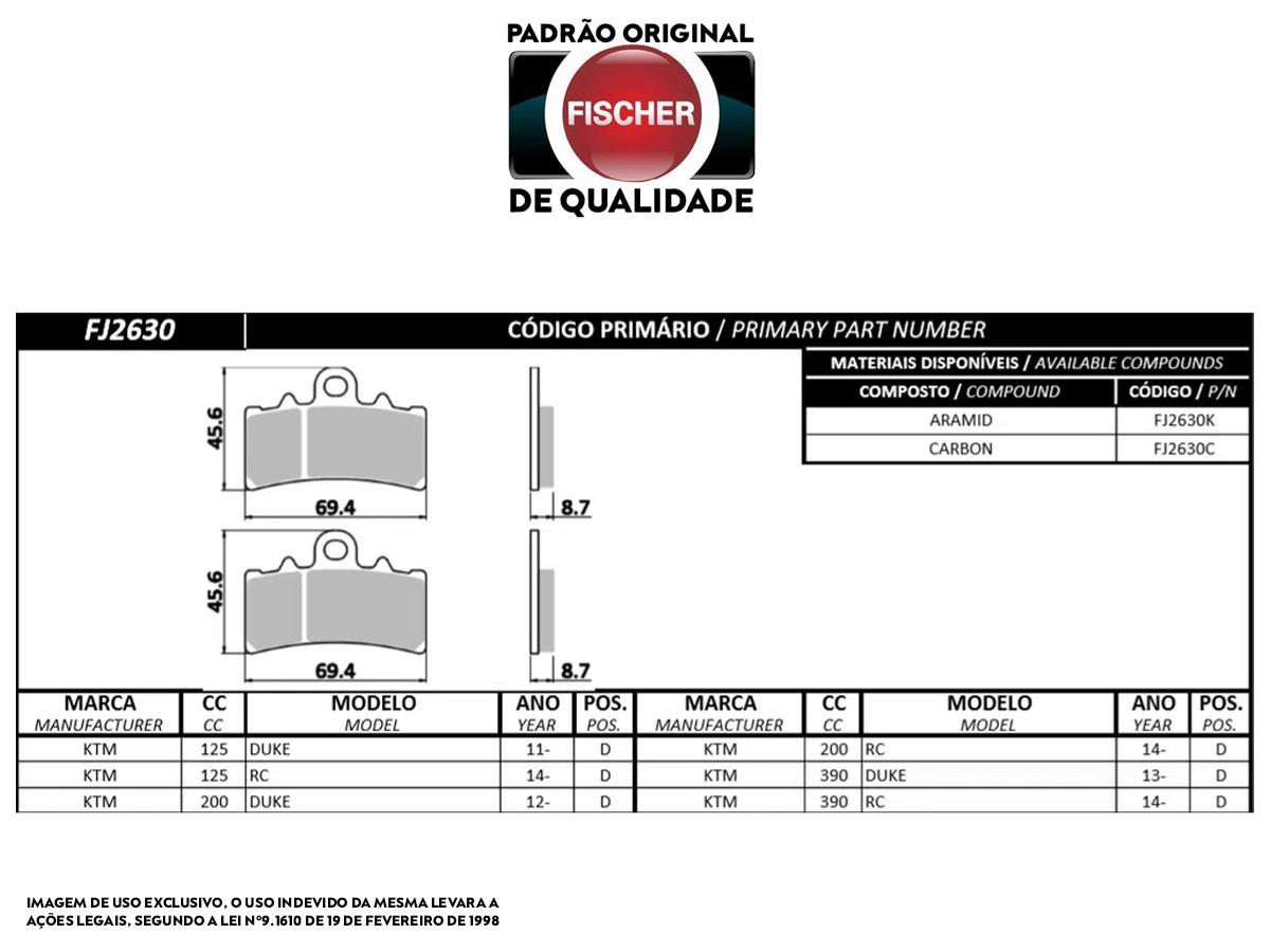 PASTILHA DE FREIO DIANTEIRA KTM DUKE 125CC 2011/...  FISCHER(FJ2630)
