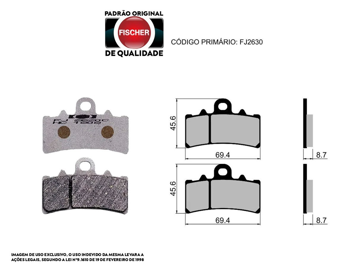 PASTILHA DE FREIO DIANTEIRA KTM RC 390CC 2014/... FISCHER(FJ2630)