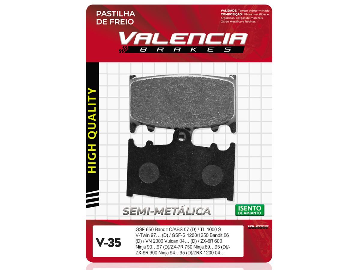 PASTILHA DE FREIO DIANTEIRA SUZUKI GSF BANDIT 1250 C/ABS/GSF S BANDIT 1250 C/ABS 2007/... (FREIO DUPLO) VALENCIA (V35-FJ1102)