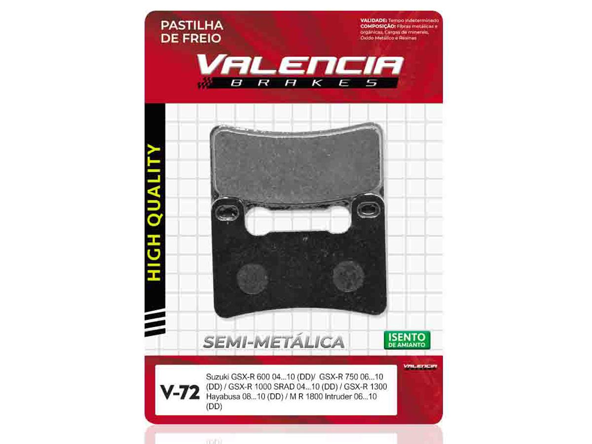 PASTILHA DE FREIO DIANTEIRA SUZUKI GSX 750 R 2004 A 2010 (FREIO DUPLO) VALENCIA (V72)