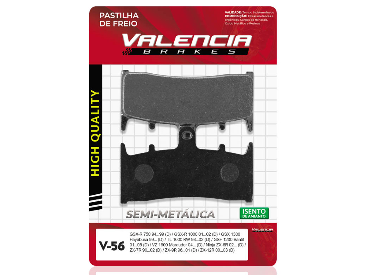 PASTILHA DE FREIO DIANTEIRA SUZUKI GSX-R 1100 WP/WR/WS/WT/WV 1993 A 1997 (FREIO DUPLO) VALENCIA (V56)