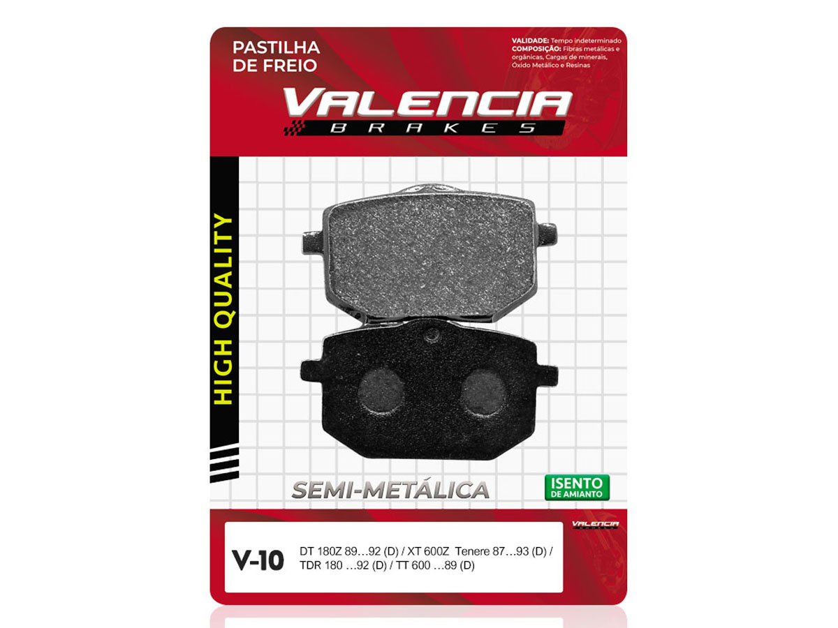 PASTILHA DE FREIO DIANTEIRA YAMAHA DT Z 180CC 1988 A 1992 VALENCIA (V10)