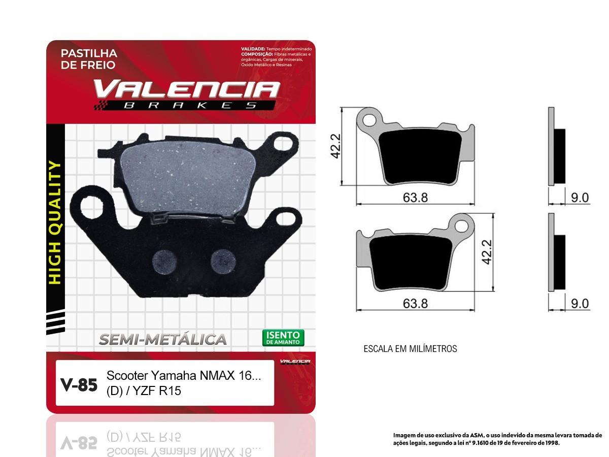 PASTILHA DE FREIO DIANTEIRA YAMAHA N MAX 160 SCOOTER (TODOS OS ANOS) VALENCIA (V85-FJ2780)