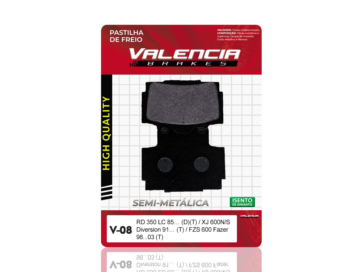 PASTILHA DE FREIO DIANTEIRA YAMAHA RD 350LC 1985/... (DIANTEIRO DUPLO) VALENCIA (V08)