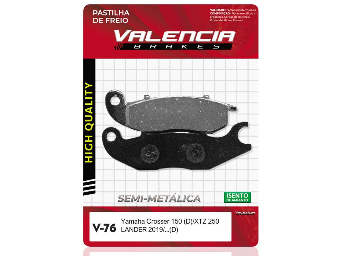 PASTILHA DE FREIO DIANTEIRA YAMAHA XTZ 250 LANDER 2019/... VALENCIA (V76-FJ2660)