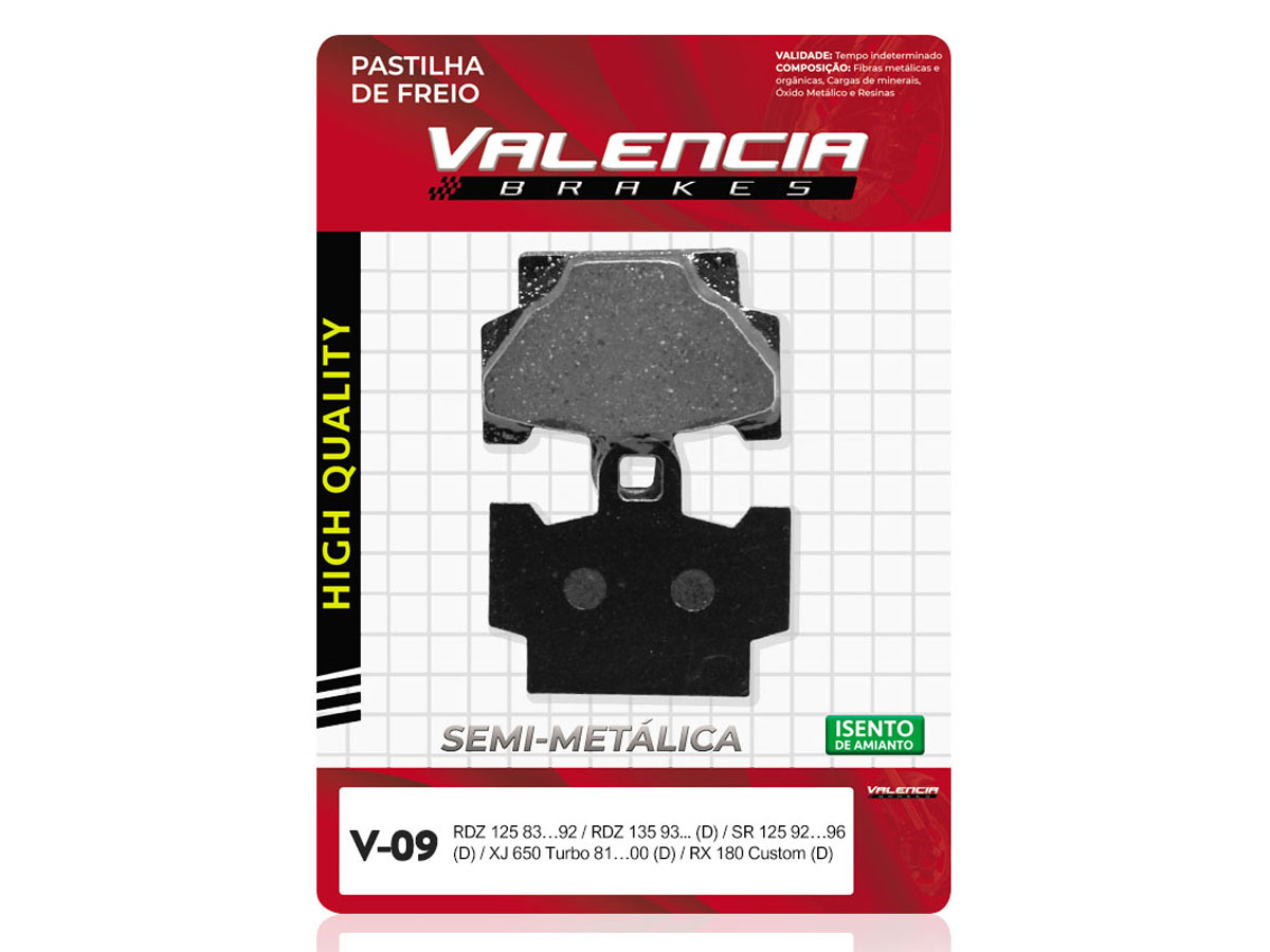 PASTILHA DE FREIO DIANTEIRA YAMAHA XV S VIRAGO 250CC 1988 VALENCIA (V09)