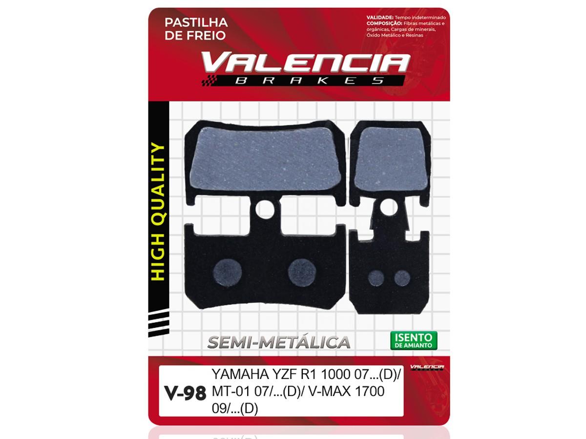 PASTILHA DE FREIO DIANTEIRA YAMAHA YZF R1 1000CC 2007/... (FREIO DUPLO) VALENCIA (V98-FJ2372)