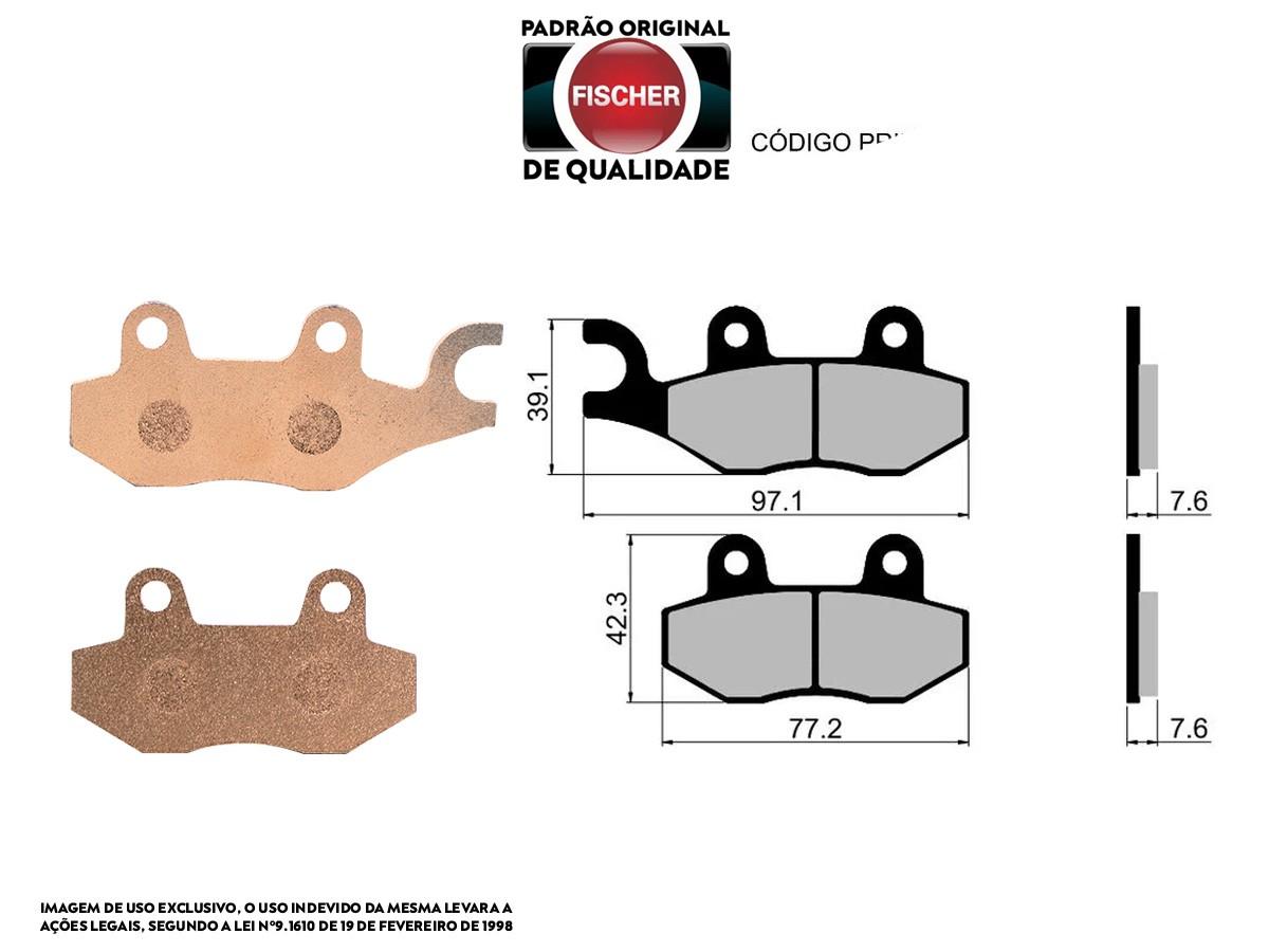 PASTILHA DE FREIO DIANTEIRO ESQUERDO SUZUKI LT-A 500 FY QUADMASTER 2000/... FISCHER(FJ0940)
