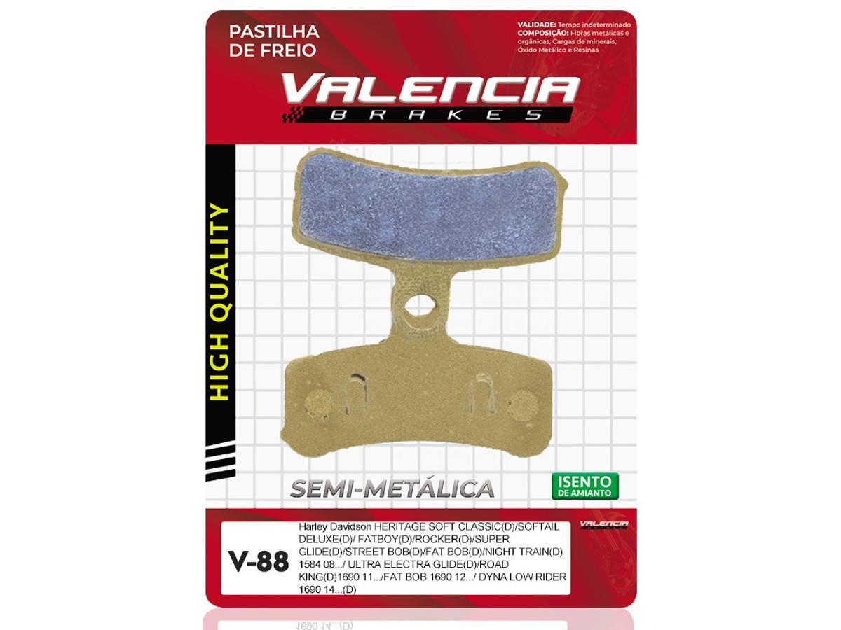 PASTILHA DE FREIO DIANTEIRO HARLEY DAVIDSON FXD DYNA SUPER GLIDE 1584CC 2008/... VALENCIA (V88)