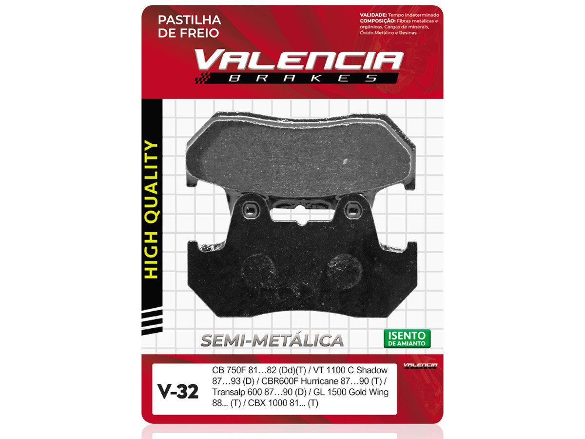 PASTILHA DE FREIO DIANTEIRO HONDA CB 750F 1981 A 1982 (FREIO DUPLO) VALENCIA (V32-FJ0826)