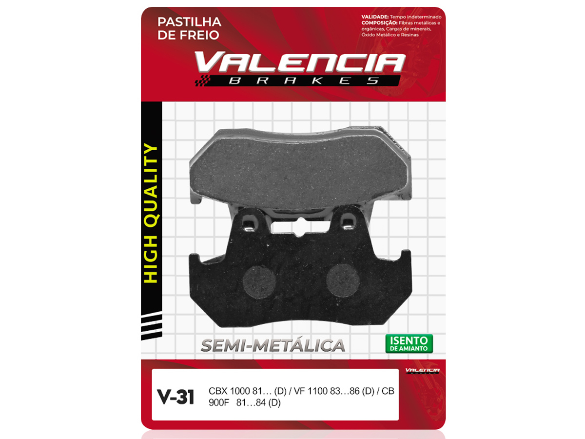 PASTILHA DE FREIO DIANTEIRO HONDA CB 900F / F2 1981 A 1994 (FREIO DUPLO) VALENCIA (V31)
