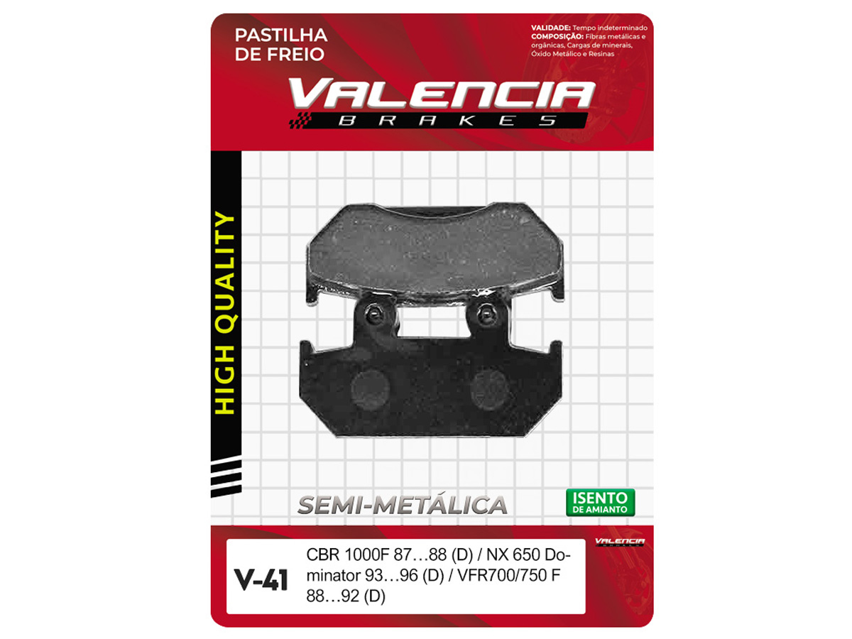 PASTILHA DE FREIO DIANTEIRO HONDA CBR 1000 F 1987 A 1988 (FREIO DUPLO) VALENCIA (V41)