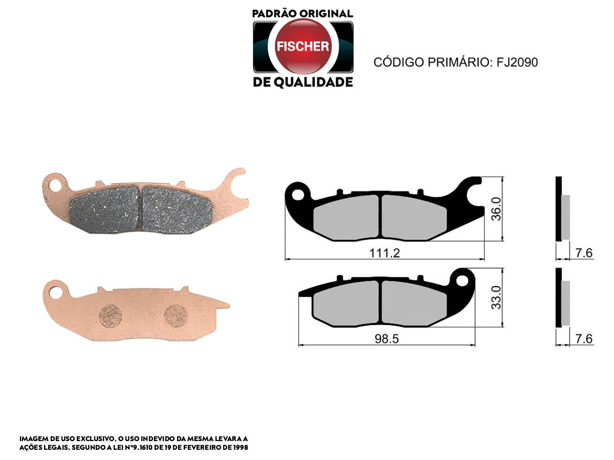 PASTILHA DE FREIO DIANTEIRO HONDA CBR 150R 2000/... FISCHER(FJ2090)